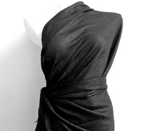 Black Wedding Shawl, Metallic Black Bridal Shawl , Sheeny Scarf, Evening Wrap, Black Stole, Bridesmaids Gift, Shimmering Black Shoulder Wrap