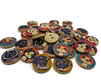 10 cat buttons, cartoon cat buttons, animal buttons, cute buttons, novelty buttons, pet buttons, sewing supplies, sewing buttons, uk buttons
