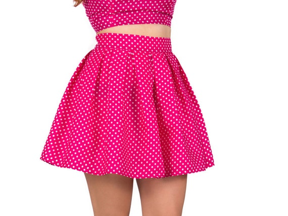 polka dot skater skirt high waisted skirt pin up by