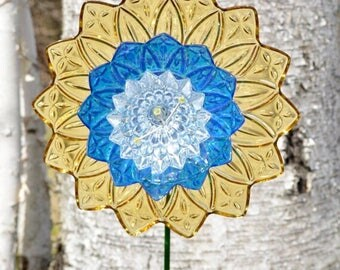Art for Home, Garden Flower Art & Handcrafted Stem, Floral Art, Yellow Home Decor, Upcycled Decor, Bright Florals