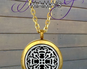 Essential Oil Diffuser Necklace - 2-Toned Gold & Silver Old World Cross - 25mm - J7