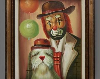 1986 Vintage Tom Hampton Clown With Dog Oil Painting 12 x 16 Circus Art