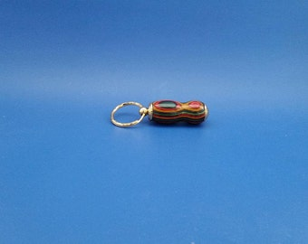 Keychain, Handcrafted, Colored wood, dyed wood, secret compartment, pill holder, wood, 24k gold
