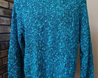 80s mens sweater by City Streets, linen blend teal green