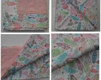 Feathers Self Binding Baby Blanket