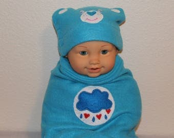 Baby boy costume Baby care bear Infant Halloween costume Grumpy care bear Baby photo prop Swaddle sack and hat New baby New mom Baby girl
