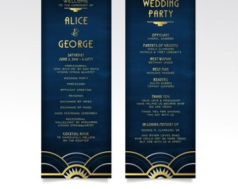 The ALICE . Program Ceremony Printed Cards . Art Deco Great Gatsby 1920s Gold Silver & Black Navy Chalkboard . Catholic Wedding Mass Card
