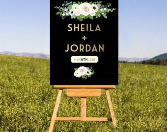 The LEWIS . Welcome Wedding Ceremony Sign . Printed on Heavy Paper, Foam Board or Canvas . Gold Black White Roses Eucalyptus Rose Ranunclus