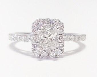 1.00CT Diamond Radiant Cut Halo Engagement Ring Anniversary Band Wedding Bands Rings Diamonds Platinum, 18K, 14K White, Yellow, Rose Gold