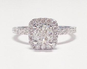 1.50CT Diamond Cushion Cut Halo Engagement Ring Anniversary Band Wedding Bands Rings Diamonds Platinum 18K 14K White Yellow Rose Gold