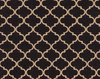 Buttercream - Metallic Gold Quatrefoil Fabric (Brown) BTHY