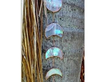 Wispy White Gemstone Stained Glass Moonphase, gemstone, stained glass, moon phase, home decor, gifts, art, moon, crystals,garden decor,decor