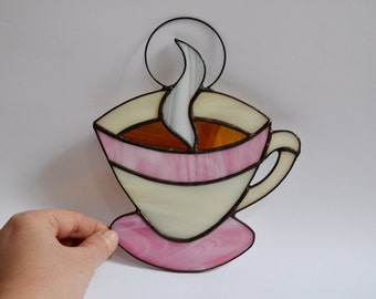 Coffee Kitchen Decor, Cup Of Coffee Or Tea Stained Glass Suncatcher, Home  Accent Panel