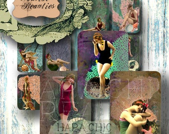 Vintage Beach Babes  Hang Tags  Printable Journal Cards  Junk Journal Vintage  1920s clip art  flapper art   art deco clip art