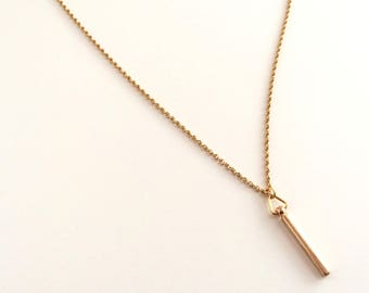 Geometric necklace. Vertical gold bar minimal layering necklace. Skinny bar pendant. Gold pendant necklace. Gold chain, gold necklace dainty
