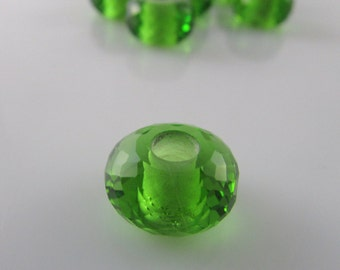 Stunning Hydro Peridot Quartz Faceted Big Hole European Charm Beads, Rondelle European Beads 8*14mm