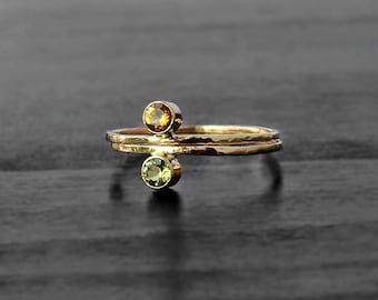 Citrine 14 K Gold ring, golden citrine ring, 14 karat rings, yellow gemstone ring, custom made ring, tiny gem ring, promise ring gold, wife