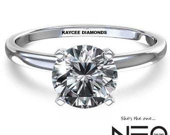 "14K Gold 2.00 (8mm) Carat Round ""Diamond Cut"" Moissanite Solitaire Ring (NEO Moissanite)"