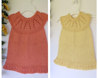 Baby girl summer dress, cotton baby dress, peach, apricot, yellow, twin girl clothing