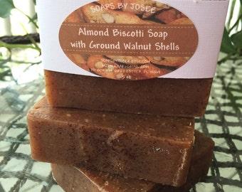 ALMOND BISCOTTI Old Fashioned Lye Soap with ground walnut shells