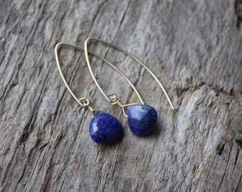 Lapis Stone Teardrop Gold Filled Marquise Earrings