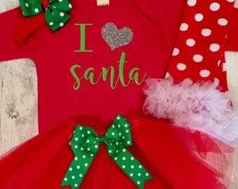 Christmas Outfit for Girls, Baby Girls 1st Christmas Outfit, I love Santa Outfit, Chritmas Dress, Baby First Christmas Set,Toddler Christmas
