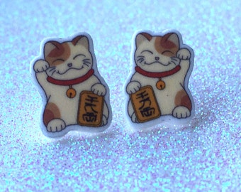 Maneki Neko Stud Earrings, Lucky Cat Earrings, Beckoning Cat Charms, Fortune Cat Earrings, Asian Cat Earrings, Shrink Plastic.