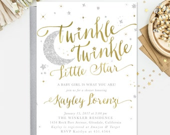 Twinkle Twinkle Little Star Baby Shower Invitation, Star Sprinkle Invitation, Girl Or Boy: White Gold & Silver Glitter Party, Invite - Star