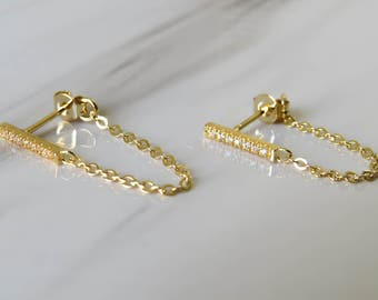 Gold Bar Earrings, gold chain earrings ,tiny gold bar studs, gold cz line earrings, gold line studs, gold minimal earrings, minimal earrings