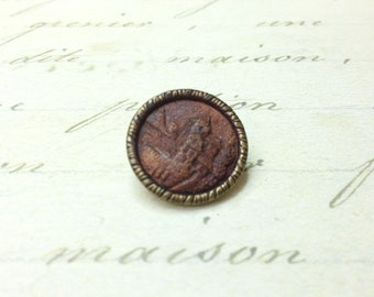 Small Antique Castle Picture wood inset Metal Button 17 mm