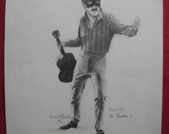 Original pencil drawing of Rock'n'Roll rockabilly star The Phantom Jerry Lott