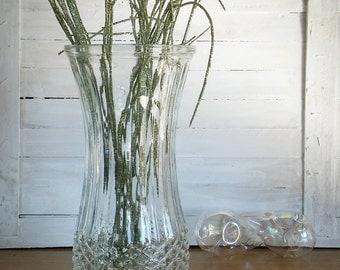 Vintage Hoosier Diamond Point Vase, Pressed Glass Vase Diamond Quilt Pattern