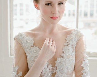 Lace wedding dress illusion neckline