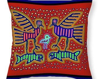 Kuna Indian Tribal Bird Catching Fish PRINTED Tote Bag - HouseWarming Gift Bag - Kuna Indian Bird PRINTED Throw Pillow - Mola Decor Pillow