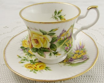 Royal Minster Tea Cup and Saucer with Yellow Roses, Vintage Bone China