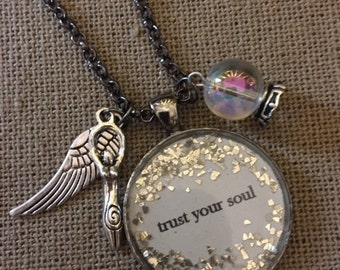 Trust Your Soul Saying Necklace, Quote Necklace, Inspirational Necklace.  AS0603