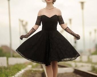 Black vintage style lace dress