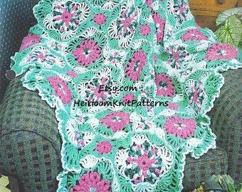 Flowers and Ferns Crochet Afghan PDF Pattern Afghan Blanket Quilt Throw Crochet Pattern Instant Digital Download PDF - 1085