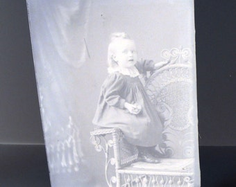 Victorian Lace Collar Toddler Wicker Chair Photograph Antique Glass Plate Photo Negative Instant Ancestor