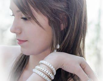 Wrap bracelet 3 turns, cream leather, white crystal, crystal beads Swarovski, bracelet wedding, ceremony Boho jewelry By Dodie