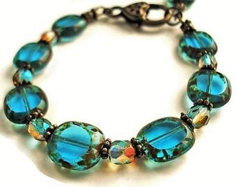 Blue Bracelet Boho Jewelry Vintage Style Glass Bracelet Blue Jewelry Statement Bracelet Everyday Jewelry Summer Bracelet Glass Jewelry Gift