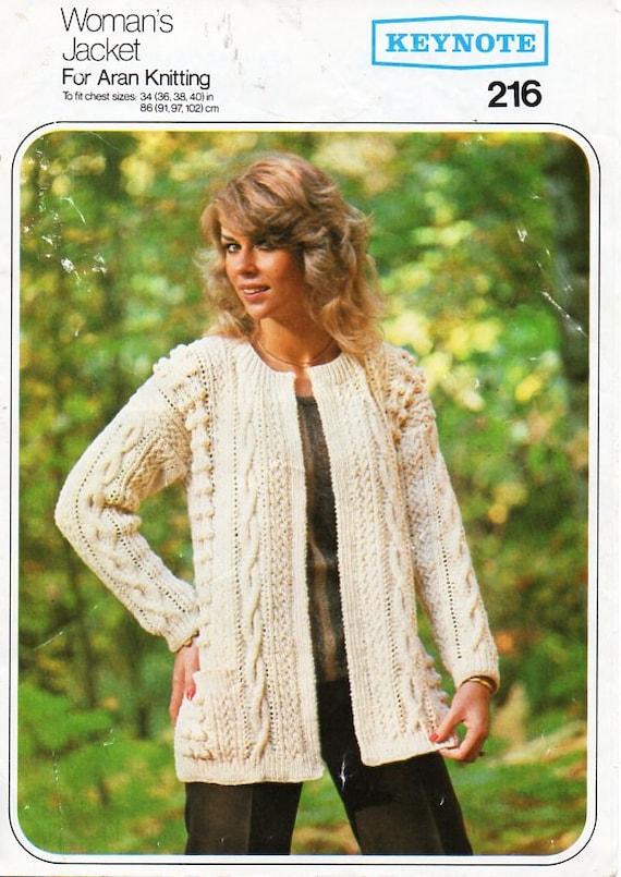 vintage womens aran jacket knitting pattern pdf ladies edge to