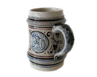 Vintage Beer Mug - Collectable Stein Tankard with Black, Blue and Brown Glaze (1/2 L)