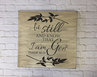"Be Still and Know Sign, Distressed Wood Wall Art. Large 24x 24"". Perfect wall art for your home! Psalm 46:10. BEAUTIFULLY CARVED"