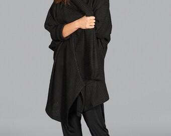 Black Cardigan, Women Sweater, Black Coat, Long Cardigan, Asymmetric Sweater, Winter Clothing, Elegant Sweater, Casual Cardigan, Cotton Top