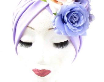 Lilac Purple Pink Dahlia Rose Flower Turban Headpiece 1950s Rockabilly 1940s 919
