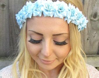 Light Blue Rose Flower Garland Headband Hair Crown Festival Boho Floral Vtg 1862