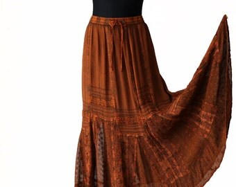Orange Gray Brown Viscose Maxi Flared Skirt Embroidered Hippie Long Skirt Free Size
