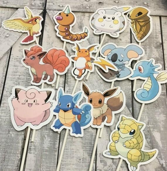 Cupcake Toppers -Pokemon, Pokemon Go,Pokemon Party Decoration, Pokemon Party,Pokemon Theme Baby Shower,Pokemon Birthday Party, Version 2