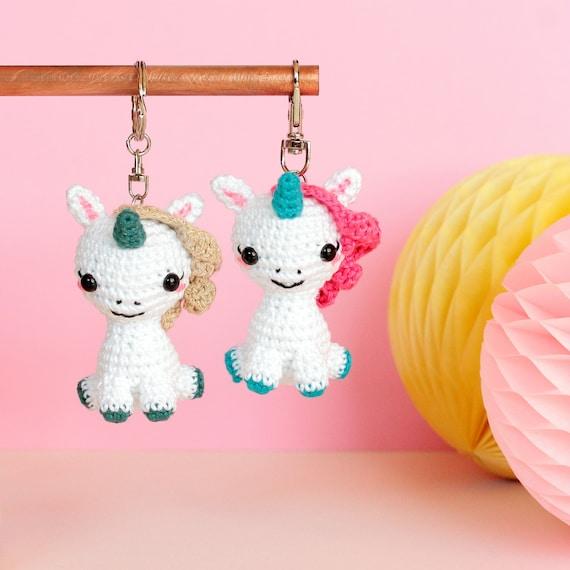 Kawaii Amigurumi Cupcake Keychain : Kawaii unicorn keychain Amigurumi keychain animal Crochet